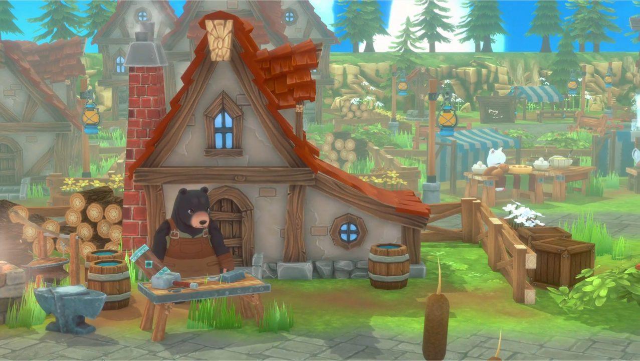 Captura de tela do Kitaria Fables de uma vila pitoresca com aparência de livro de histórias em uma terra verdejante, com um homem-urso trabalhando como ferreiro.
