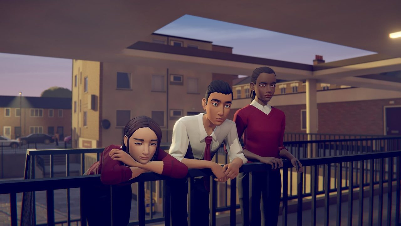 Three characters stare out into the world, contemplating the meaning of life, in Last Stop.