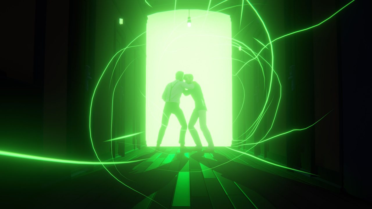Two characters step through a neon door and into an eerie green light in Last Stop.