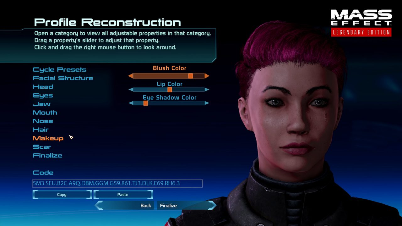The vast character creator has been updated for Mass Effect: Legendary Edition.