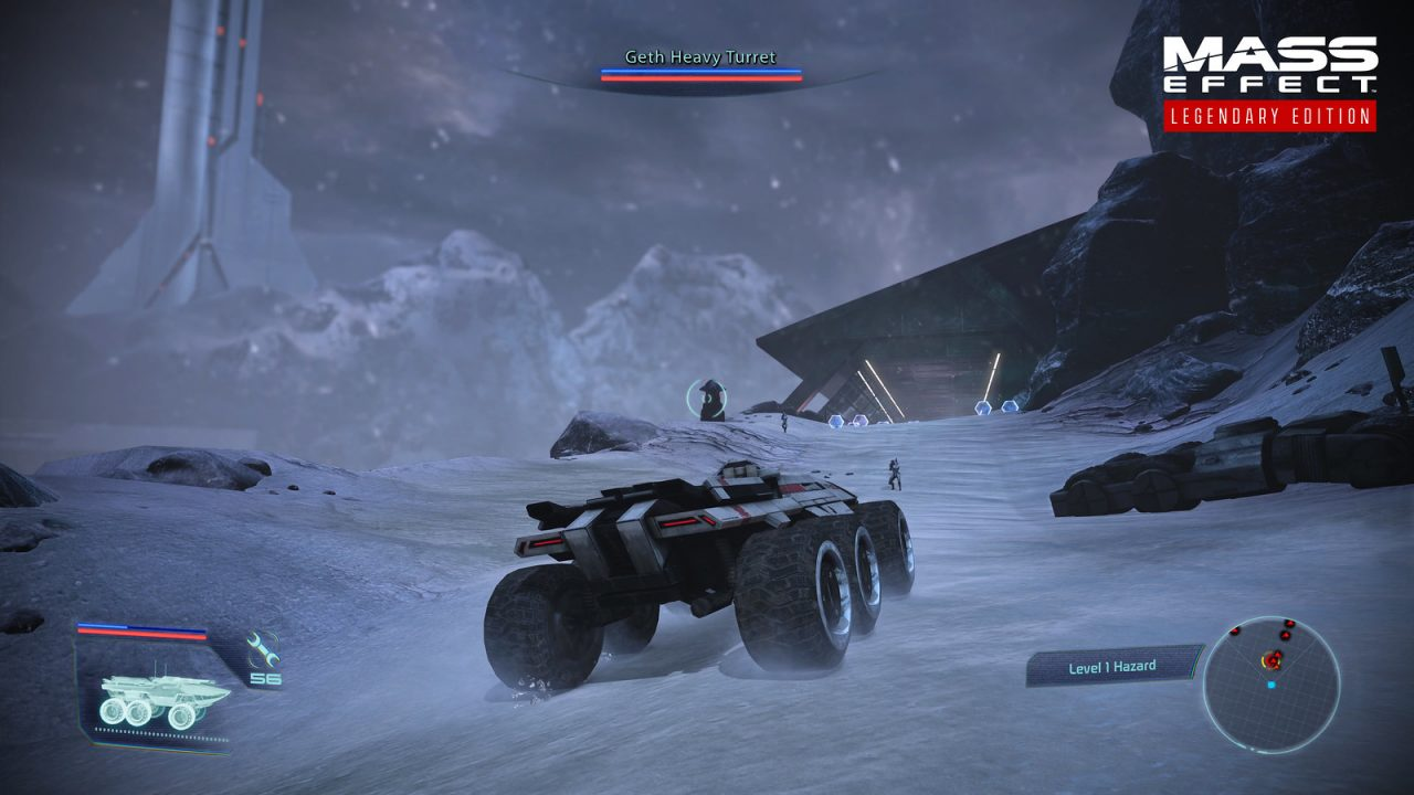 Driving the Mako across an icy world in Mass Effect: Legendary Edition.
