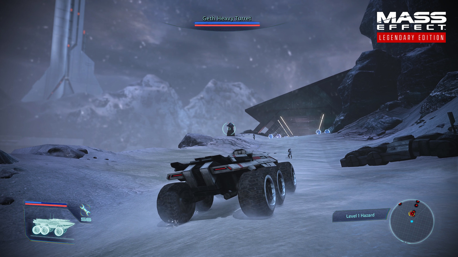 The four-wheeled Mako drives within an icy inhospitable wasteland.
