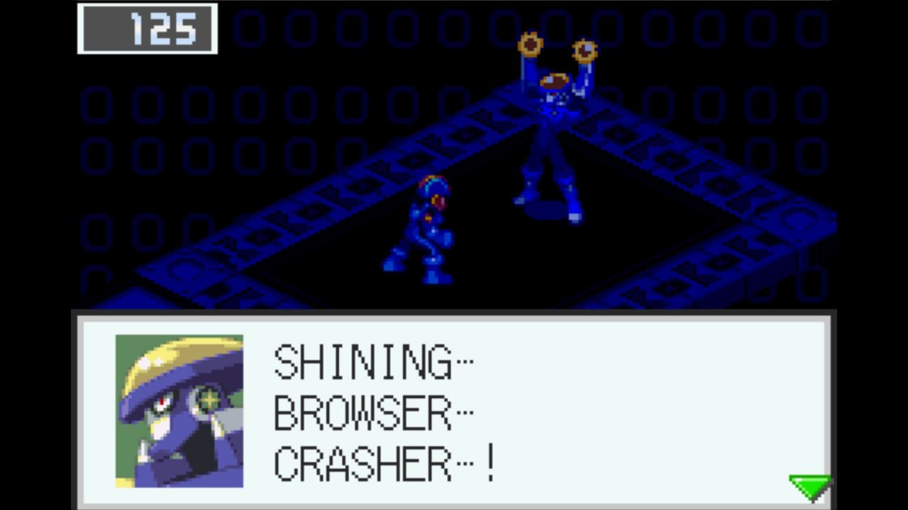 Flash Man and Mega Man stand off against one another. Flash Man is using an ability to escape from the encounter.