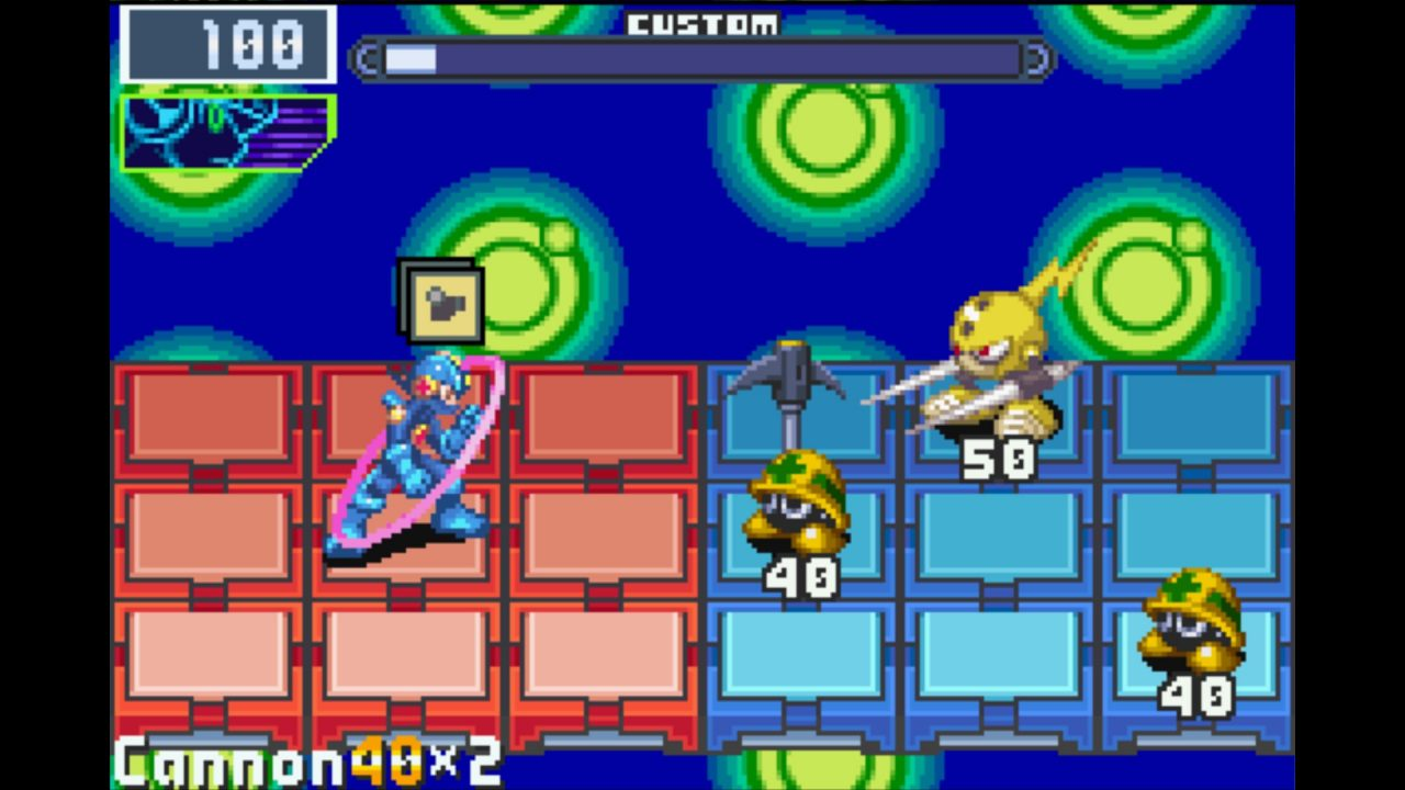 Characters stand on a grid in Mega Man Battle Network.