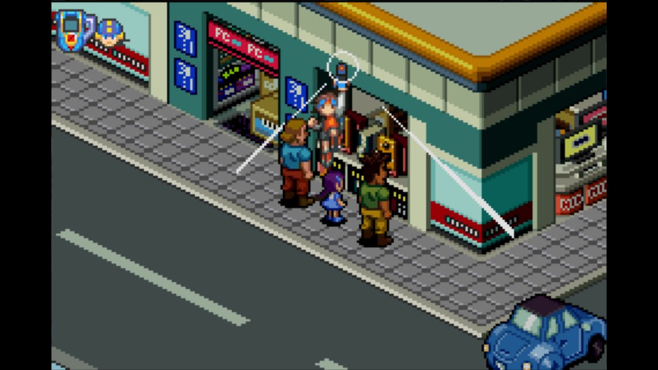 Characters stand on a city street.