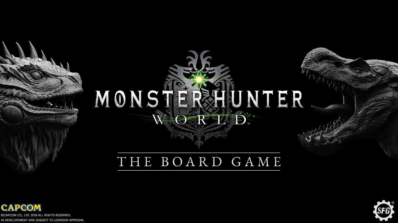 The logo for Monster Hunter World: The Board Game featuring the Great Jagras and Anjanath figures from the game
