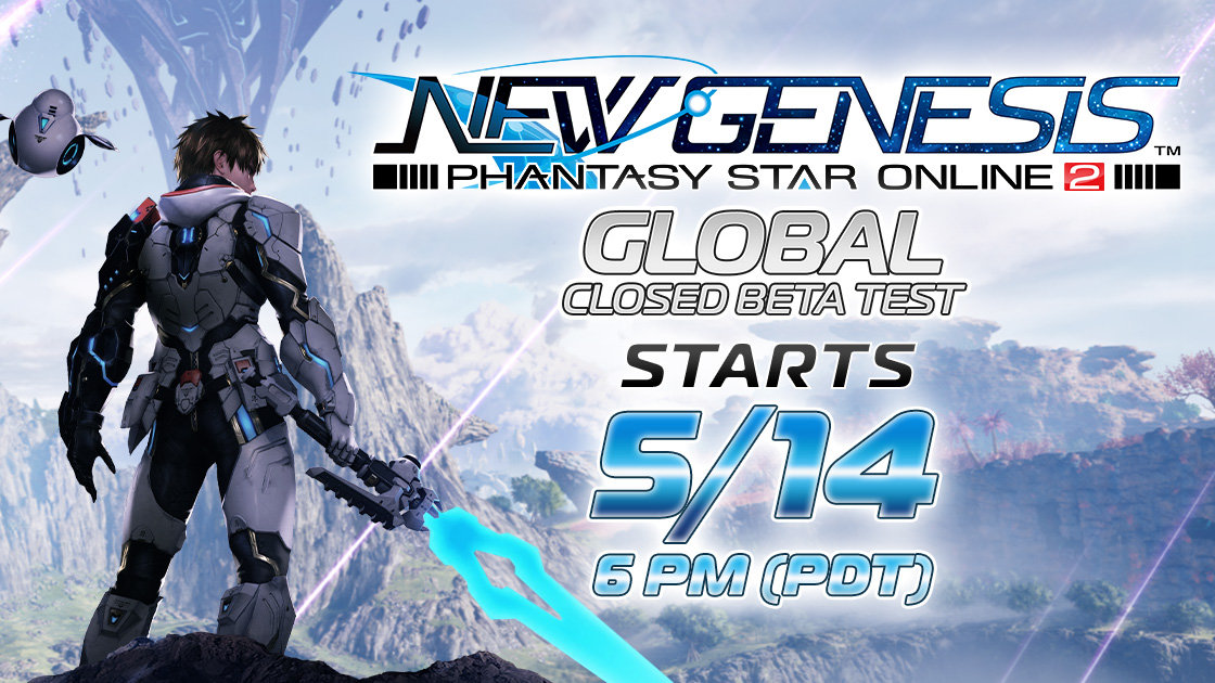 New Genesis Phantasy Star Online 2 Closed Beta Starts 5/14 Promo Image featuring man in armor with laser sword