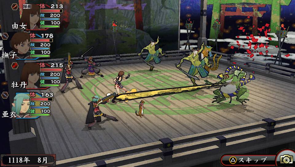 A screenshot of a battle in Oreshika: Tainted Bloodlines as four player characters square off with melee and projectile weapons against colorful creatures in a wooden temple.