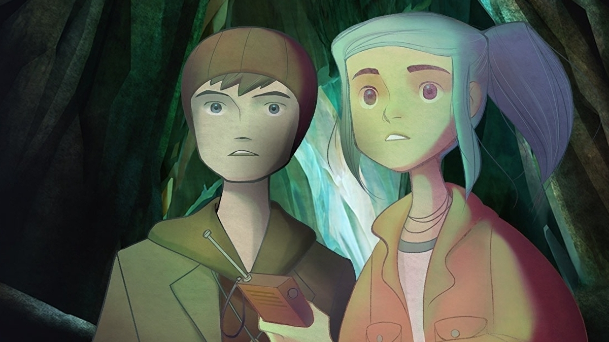 The protagonists investigate something in the foregrond in Oxenfree II: Lost Signals.