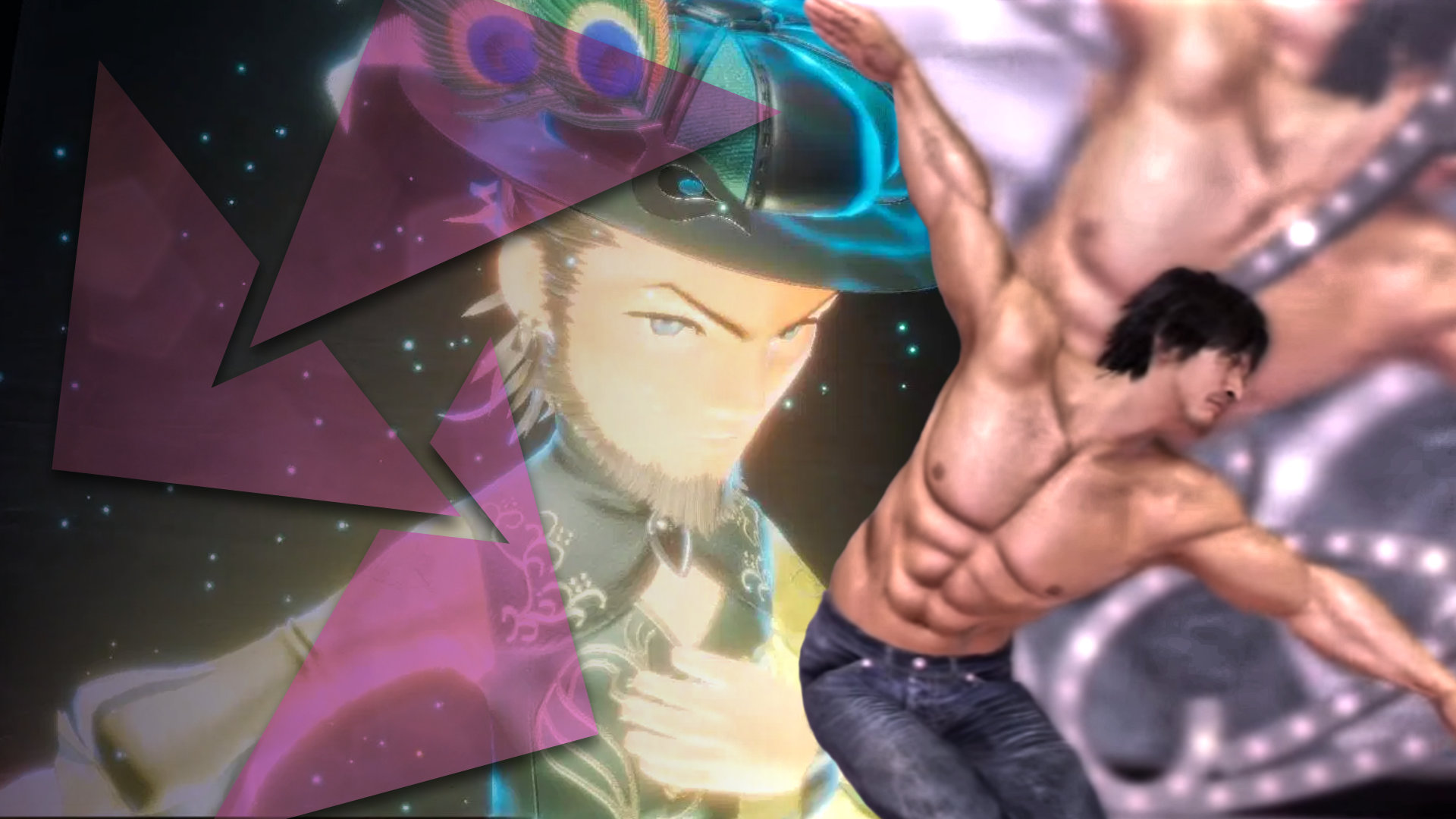 A bearded man in a fancy hat from the game Bravely Default 2 is in the background looking down at a glistening, well-muscled man dancing on a stage in Yakuza 5.