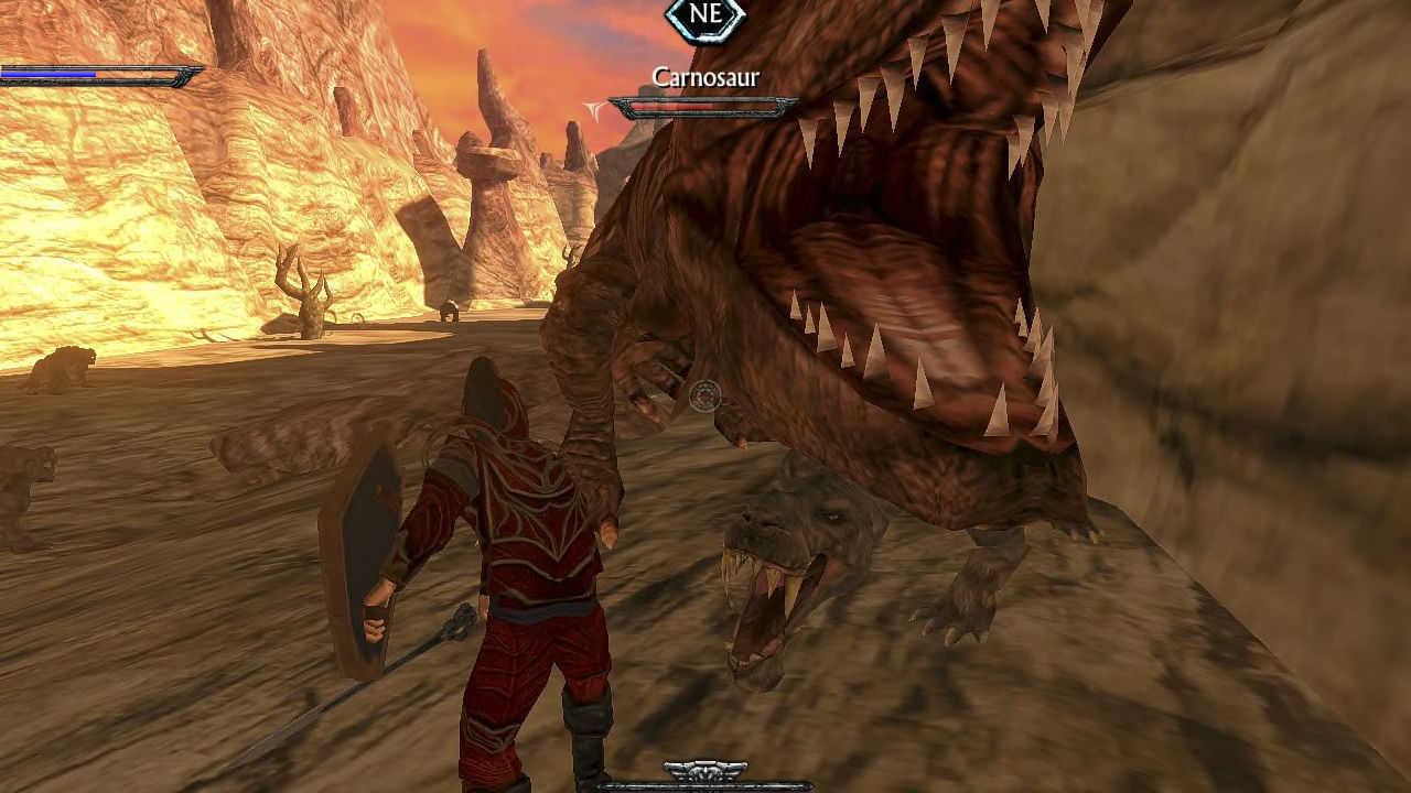 A warrior in Ravensword: Shadowlands faces down against a giant Carnosaur, bearing its massive teeth against the hero.