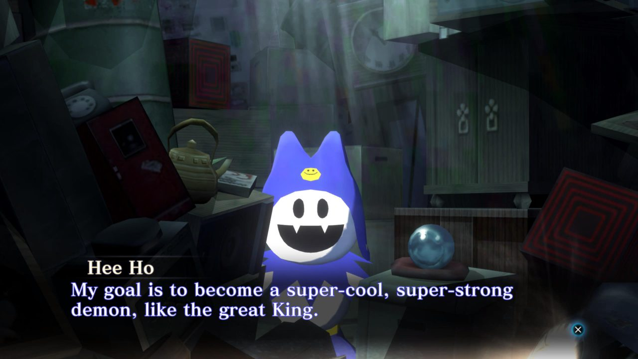 An image of jack frost at a shop in Shin Megami Tensei 3 Nocturne