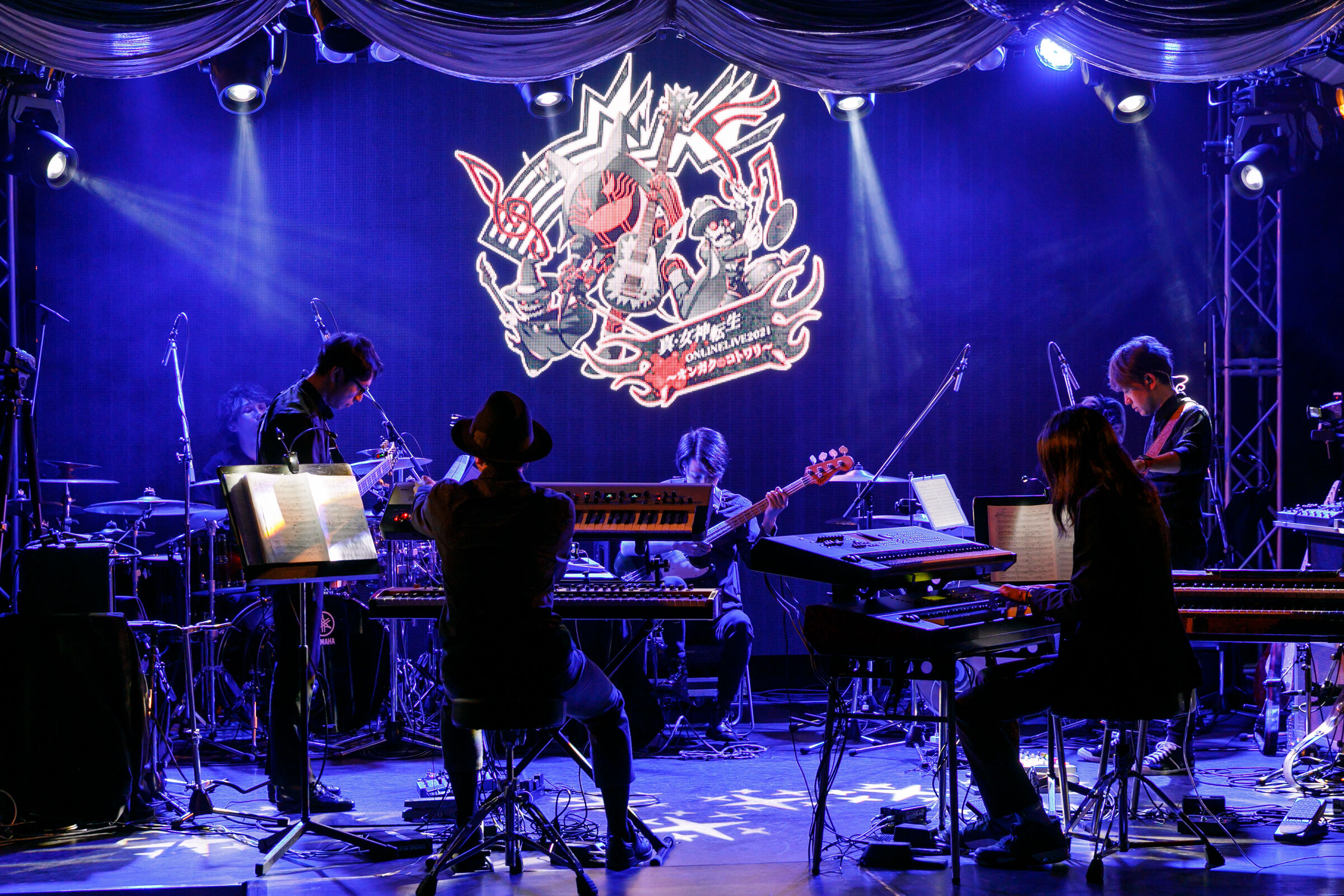 The band LaiD Back Devil performs music from the Shin Megami Tensei series during the Shin Megami Tensei Online Live 2021 concert.