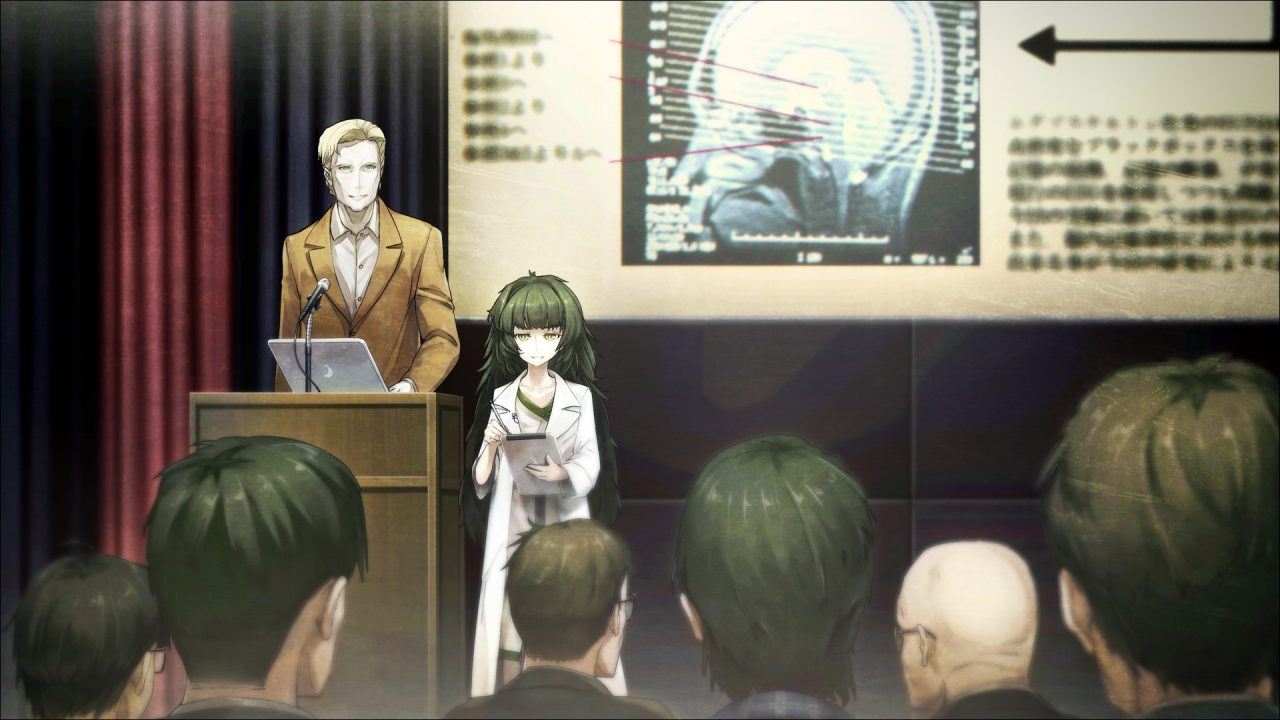 A leading scientist and his deceptively small assistant give an important lecture on AI in Steins;Gate 0.