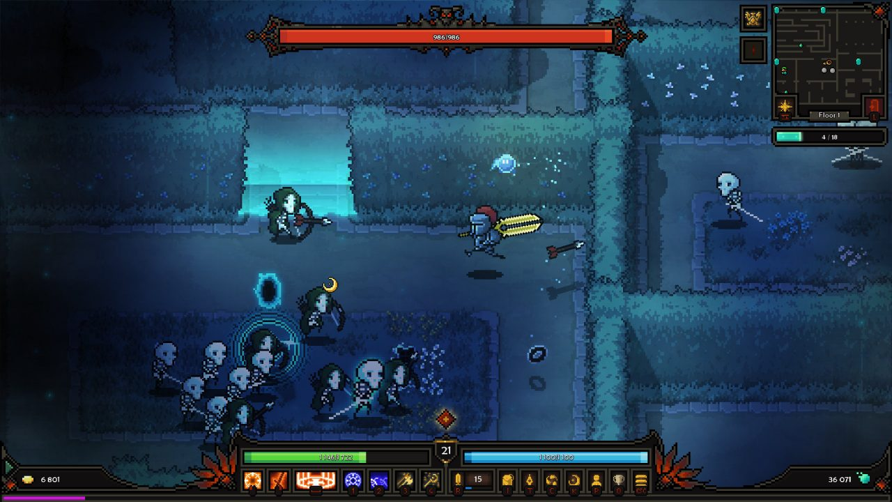 Carrying a giant sword toward your archer enemies beneath the waves in The Slormancer.