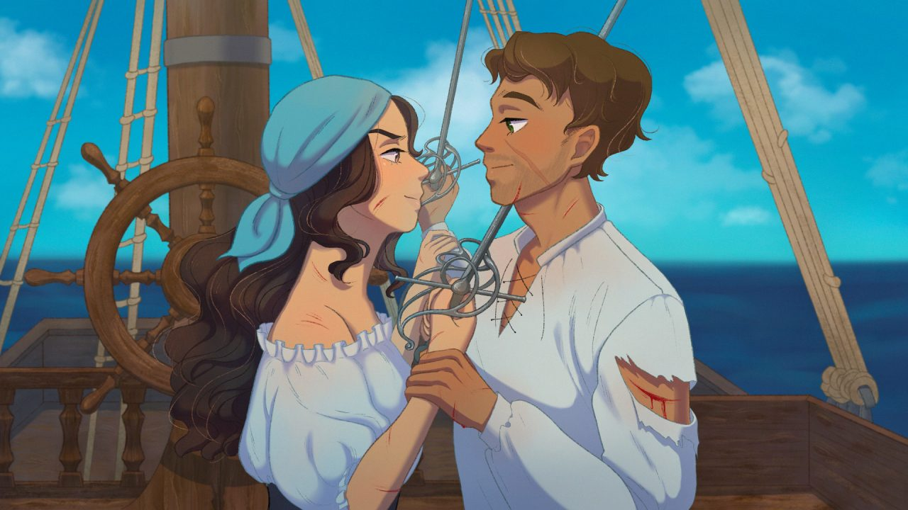 A male and female pirate pause during a duel to stare at eachother longingly.