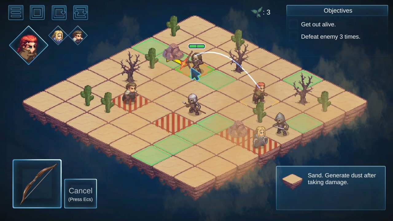 A desert battle set on an isometric grid.