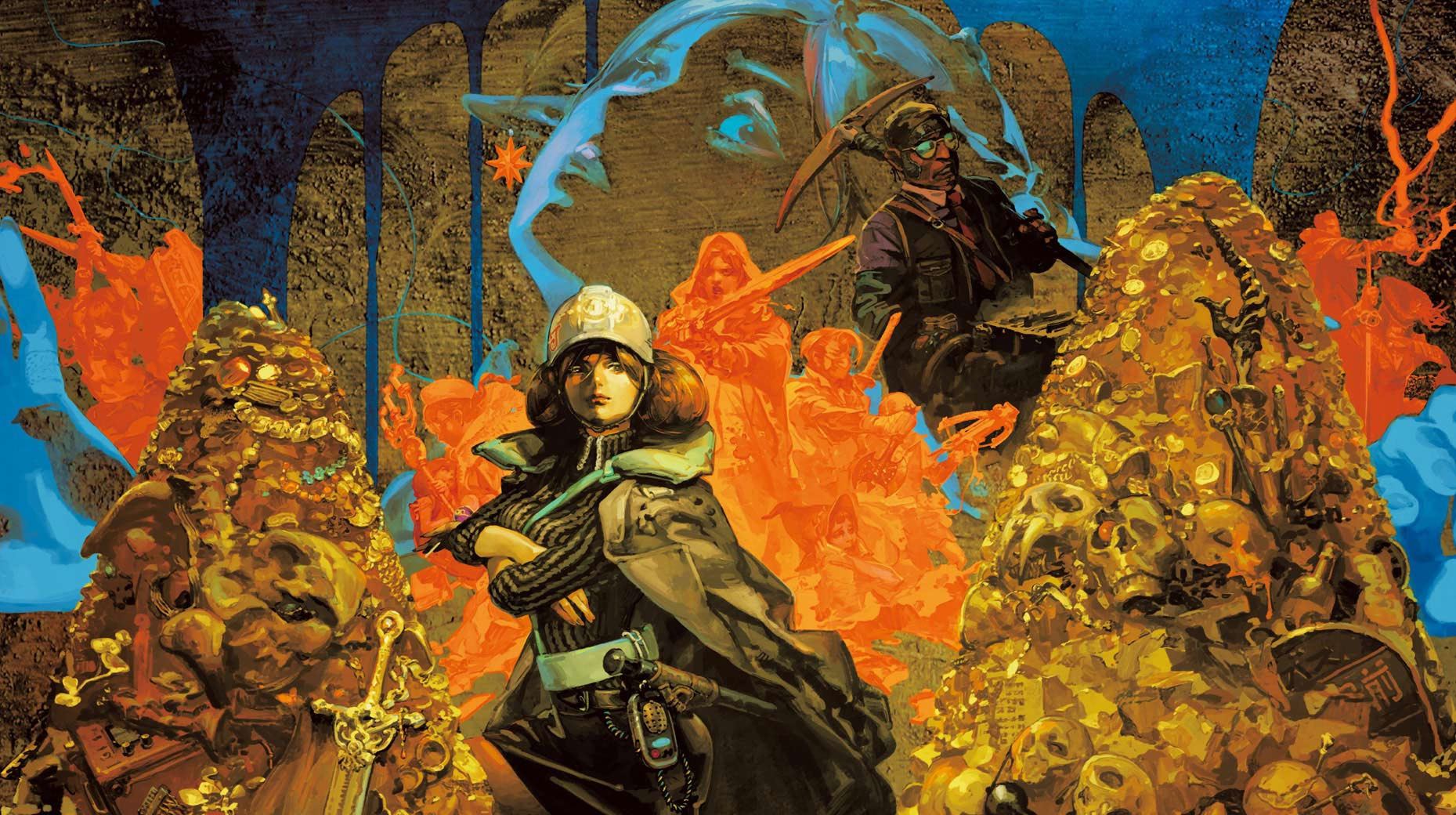 Undernauts: Labyrinth of Yomi Artwork of a woman dressed in protective mining gear, smugly posing in front of mountains of golden treasure.