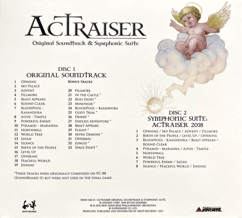 ActRaiser Original Soundtrack Symphonic Suite Back Cover