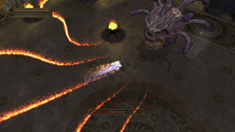 Battling a creepy monster in Baldur's Gate: Dark Alliance.
