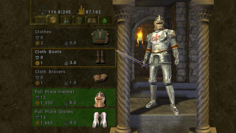 The main character menu in Baldur's Gate: Dark Alliance.