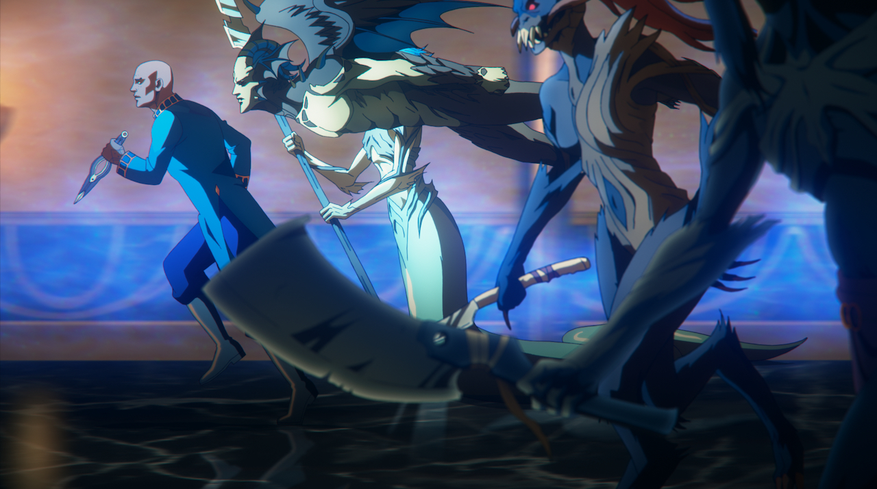 The Forgemaster Isaac running to attack with a hoard of demons in Castlevania. He holds a knife, which is his Forgemaster tool, and he wears blue robes. The monsters that follow him are a mixture of mercreatures, flying devils, skeletons, and more. They are all pale-skinned or blue with brown bone-like textures on their bodies.