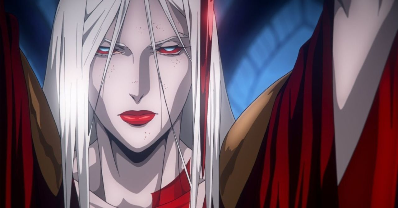 A close-up of a bloodied Carmilla, leader of the vampire coven, in Castlevania. Her eyes are blood red, and she wears a long, red dress.