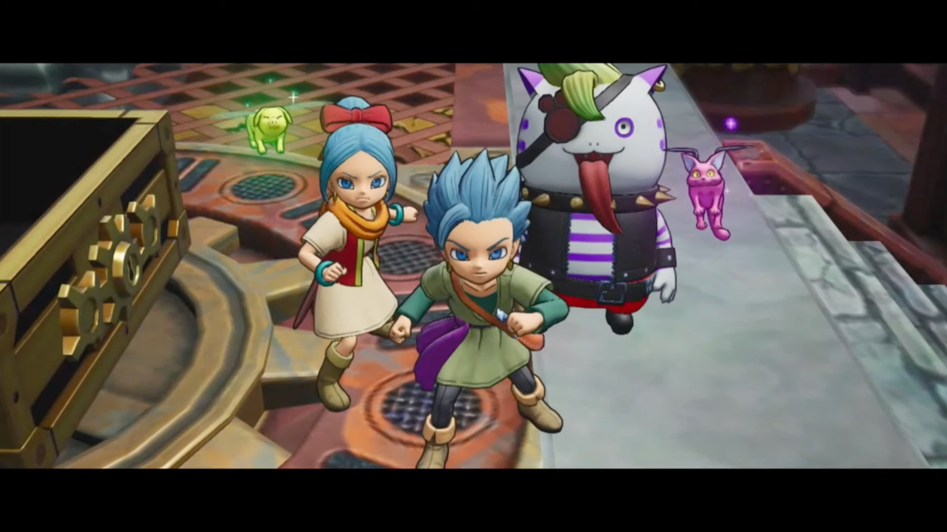 Erik, Mia, and a funny-looking friend in Dragon Quest Treasures.