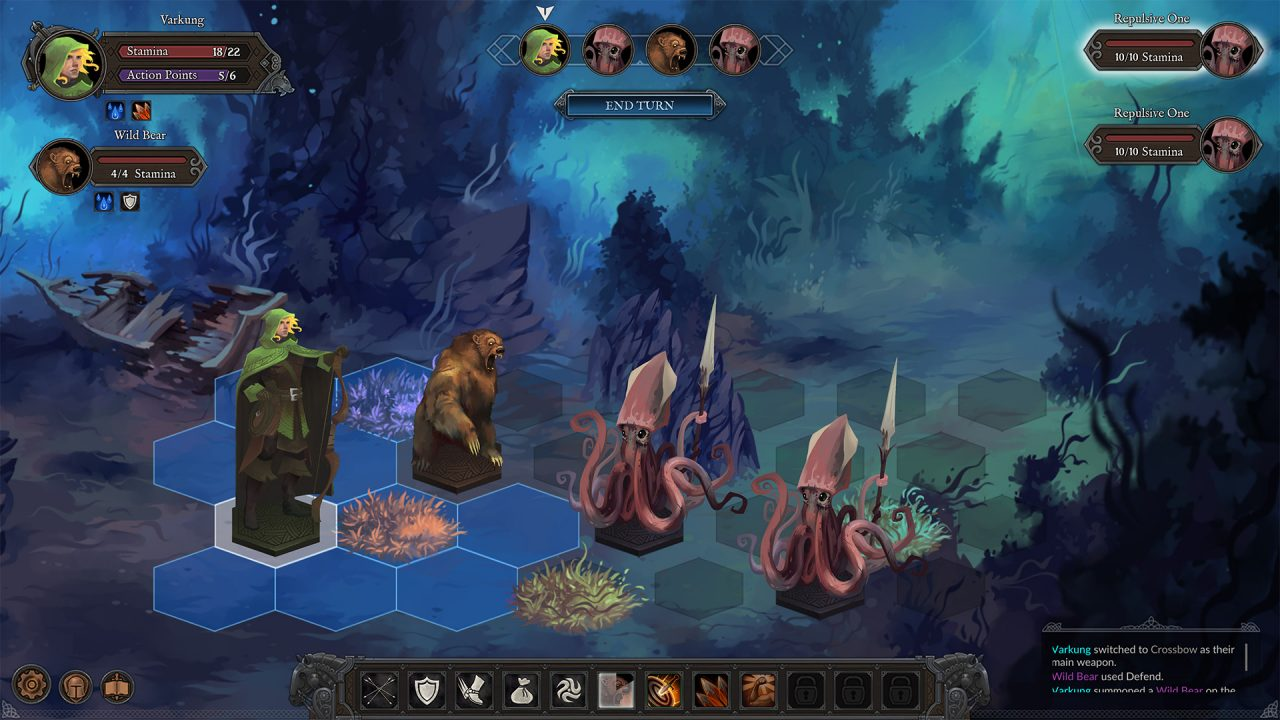 A combat scene in Fabled Lands. There is a bear and an archer with blonde hair and a green cloak fighting two red spear-armed squid enemies. The combat is taking place underwater with grey rocks, blue and green seaweed and moss, and a small shipwreck.