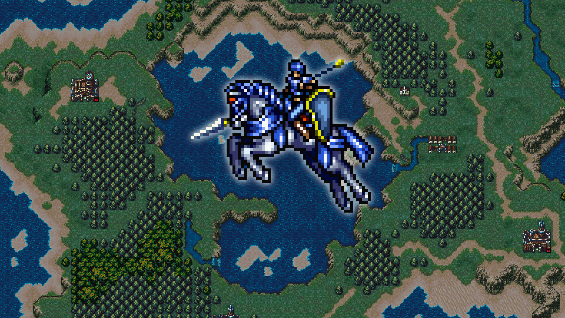An iconic pegasus knight soars over the land in Fire Emblem: Genaelogy of the Holy War.