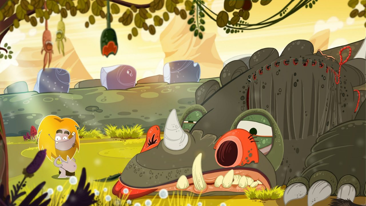 The impressionist and downright strange art style of Fire: Ungh's Quest showing the main character and a grey colored dinosaur.