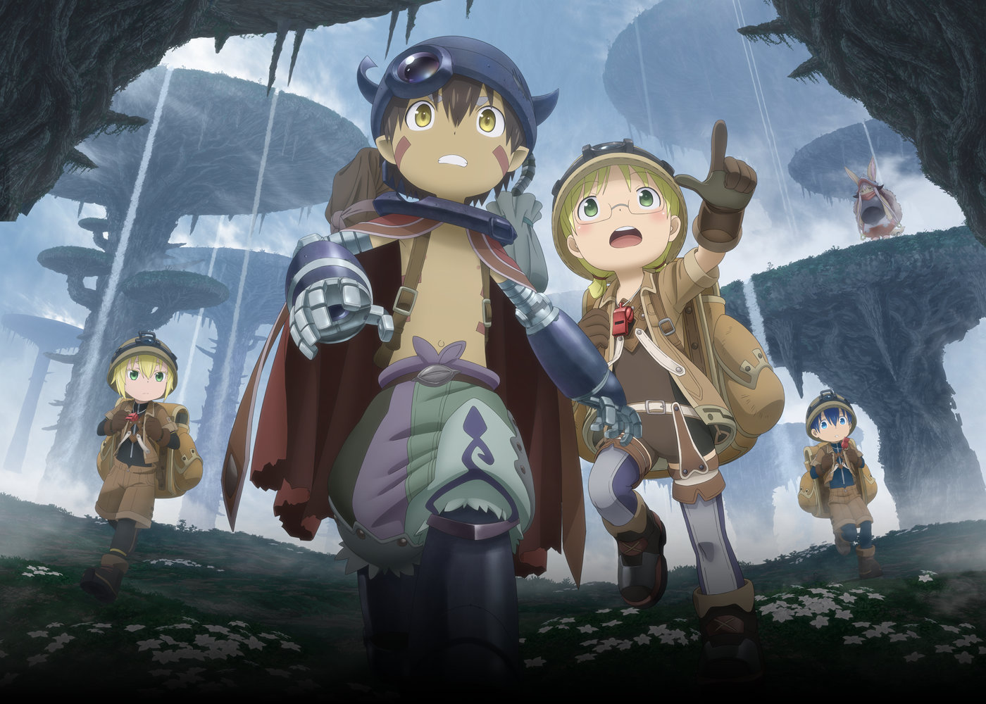 Anime-style archaeologist girl and robot boy look scared while others watch from the distance.