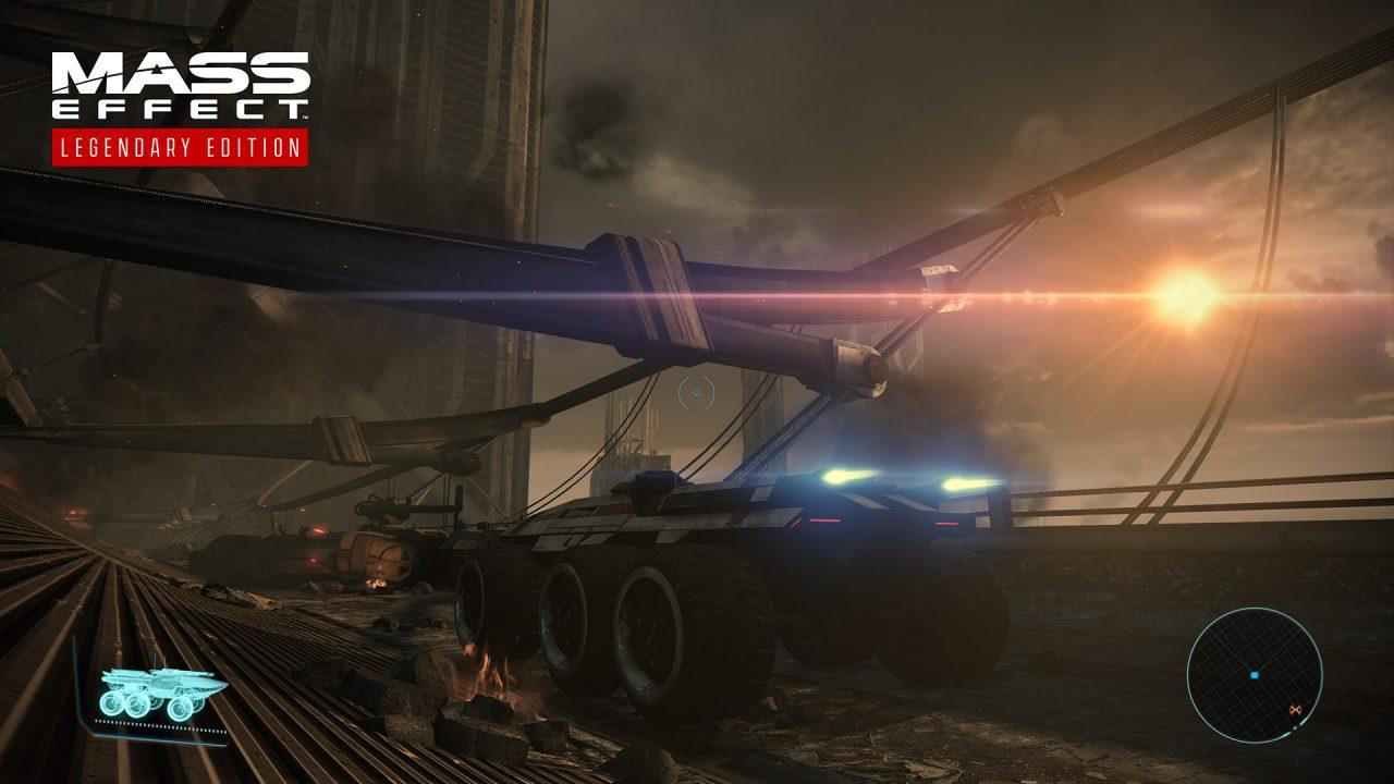 The Mako braves an ancient Feros bridge in Mass Effect: Legendary Edition.