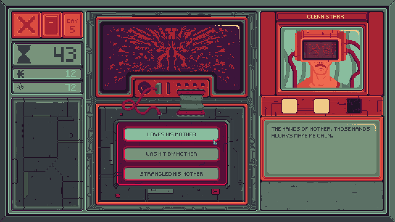 A minigame interface with response options letting the player interpret a statement made by a client about their mother.