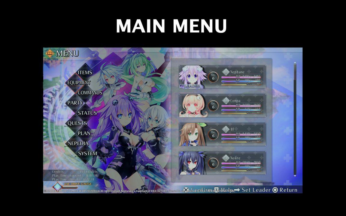 Neptunia Reverse Menu UI Screenshot