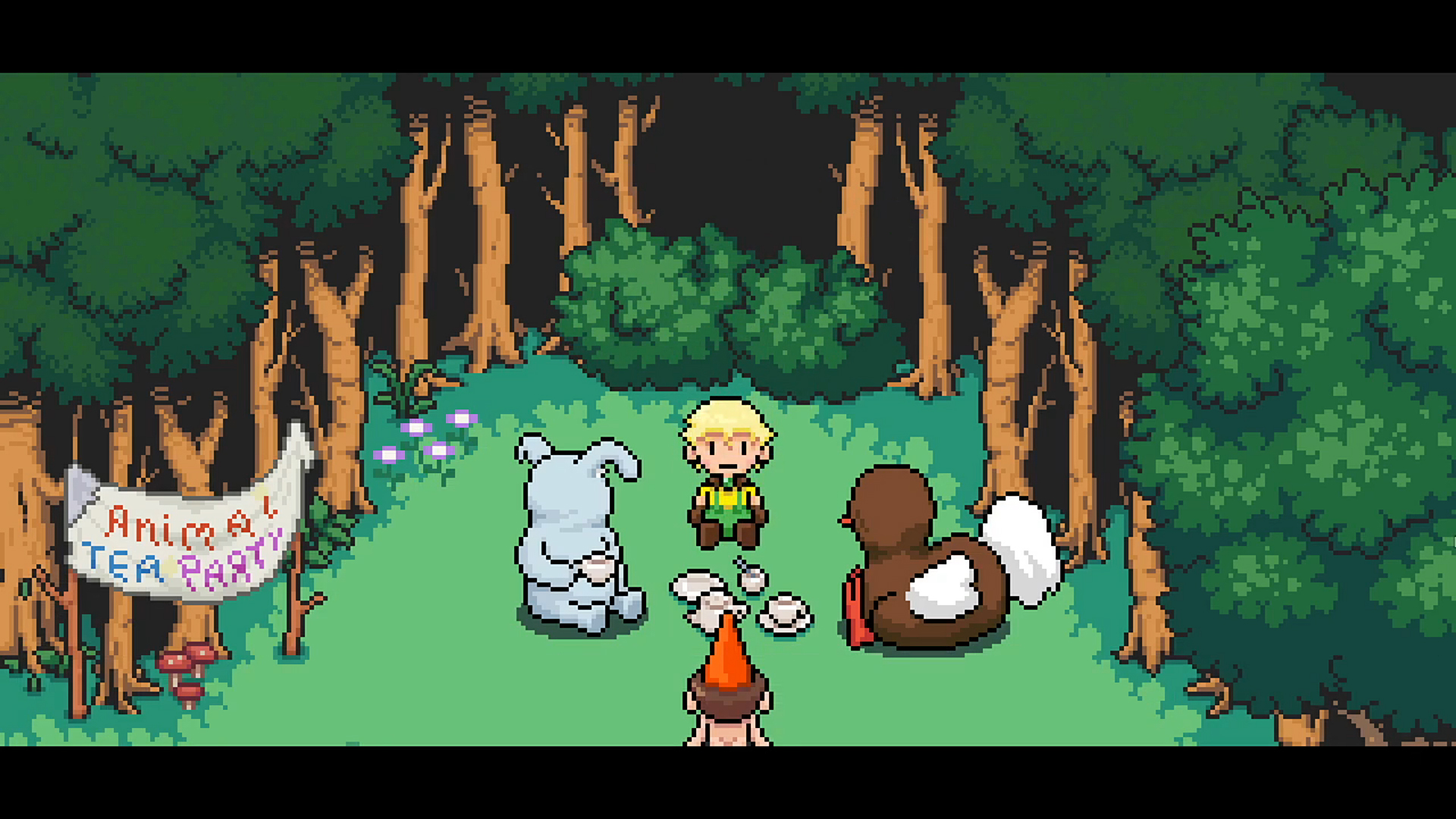 Oddventure screenshot of animal and human characters enjoying tea in a forest.
