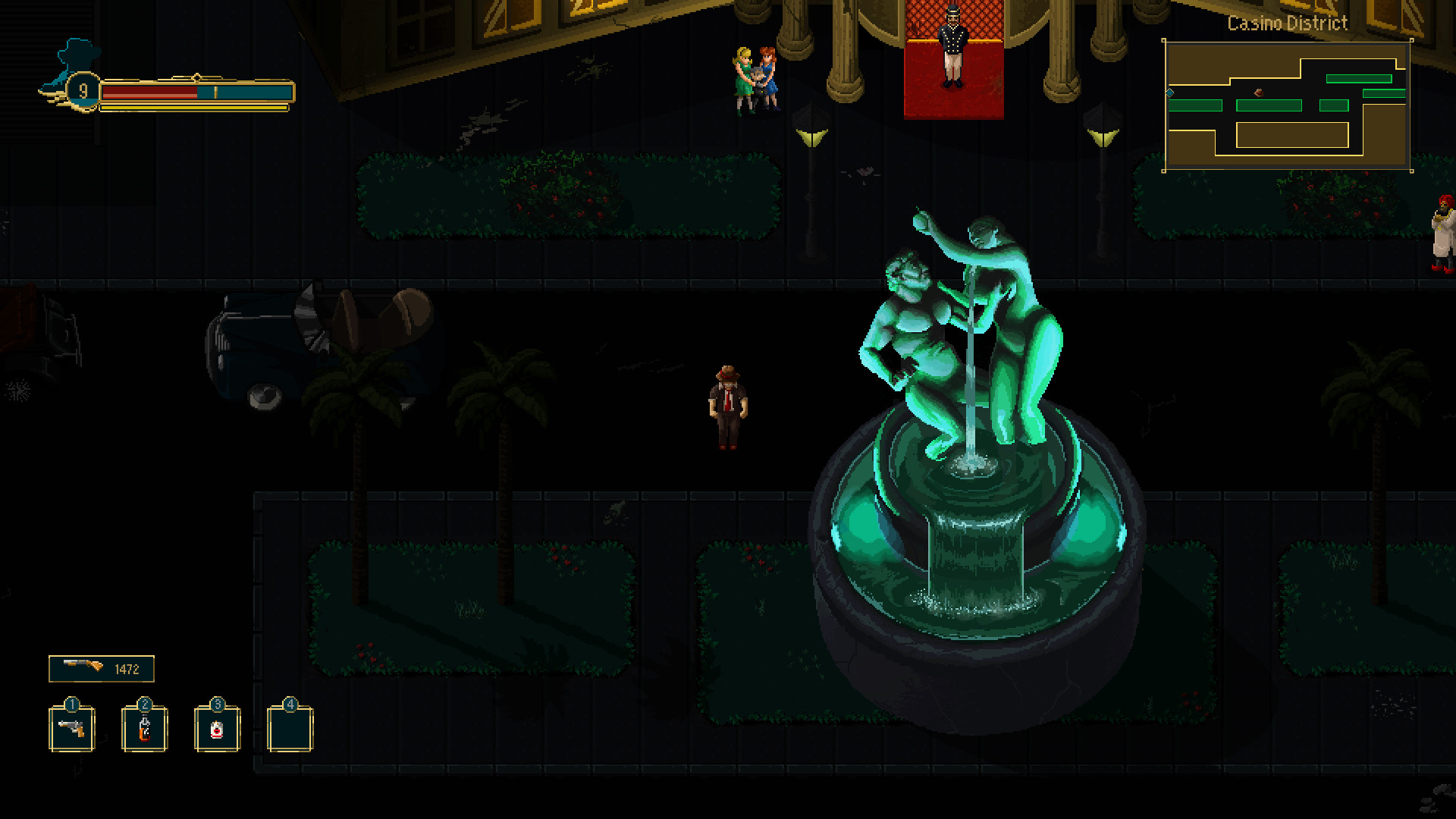 A top-down view of a police detective in Pecaminosa. He is standing next to a fountain at night. There are two women, one with blonde hair and a green dress, and the other with brown hair and blue clothes, standing next to a hotel foyer. The screen is very dark.