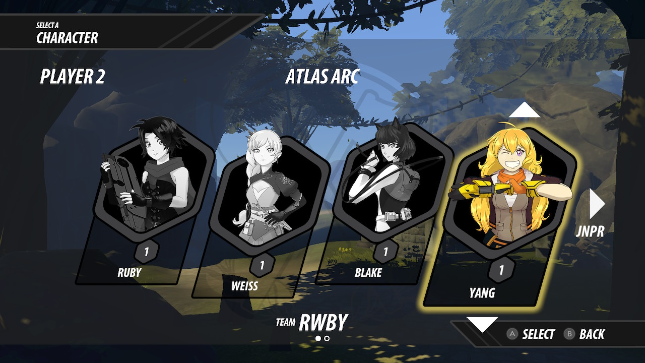 RWBY: Grimm Eclipse - Definitive Edition screenshot of the character select screen for Team RWBY.