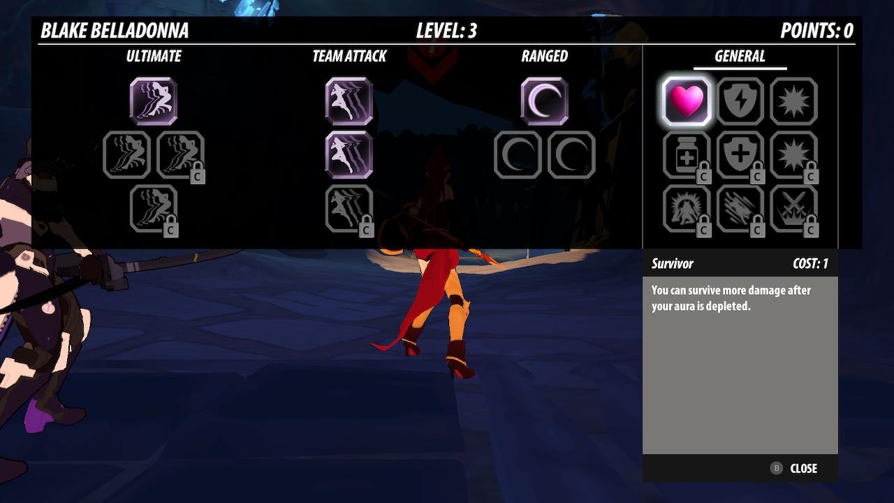 RWBY: Grimm Eclipse - Definitive Edition screenshot of Blake's skill tree.