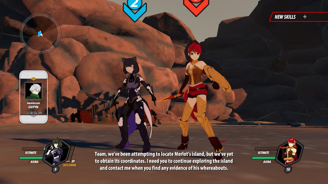 RWBY: Grimm Eclipse - Definitive Edition screenshot of two characters readying for battle in a rocky canyon.