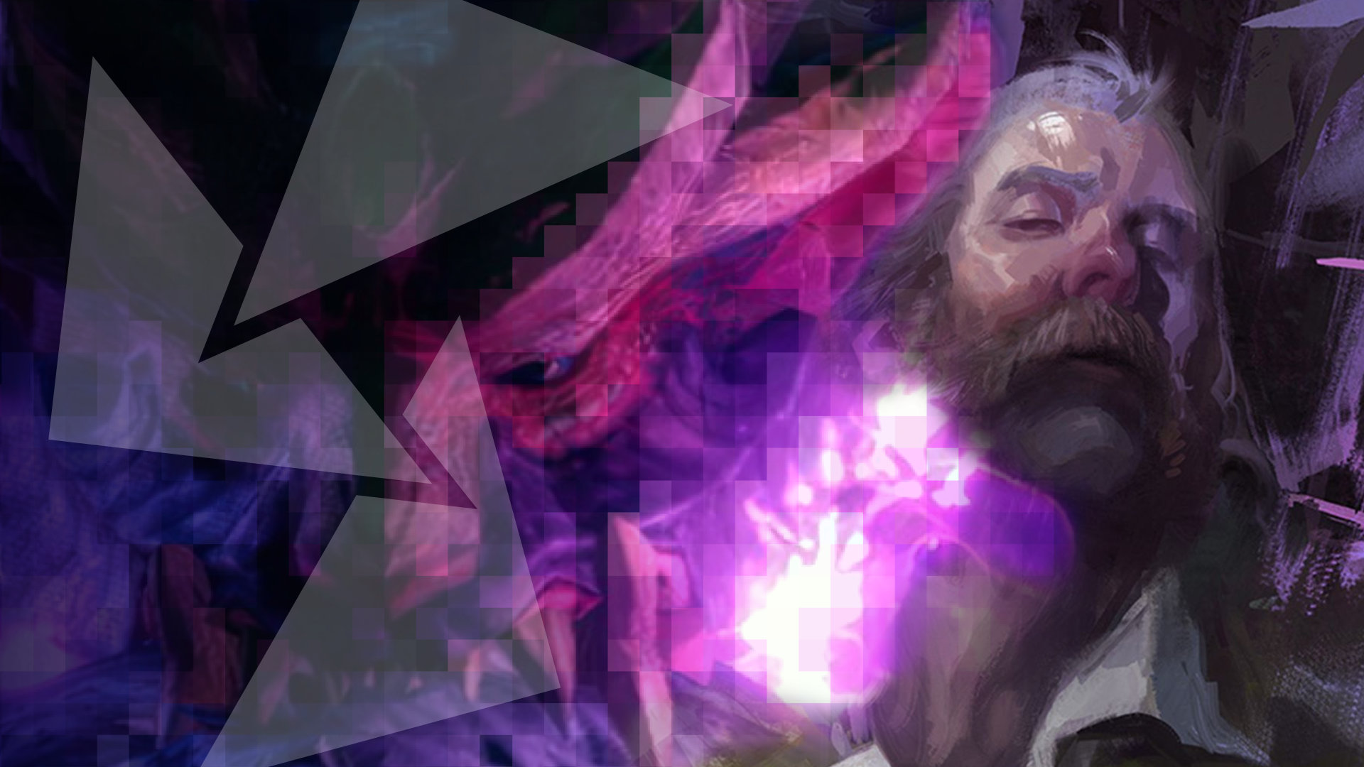 An infernal beast wreathed in purple fire from Monster Hunter Rise is next to a portrait of a bearded, older gentleman from Disco Elysium.