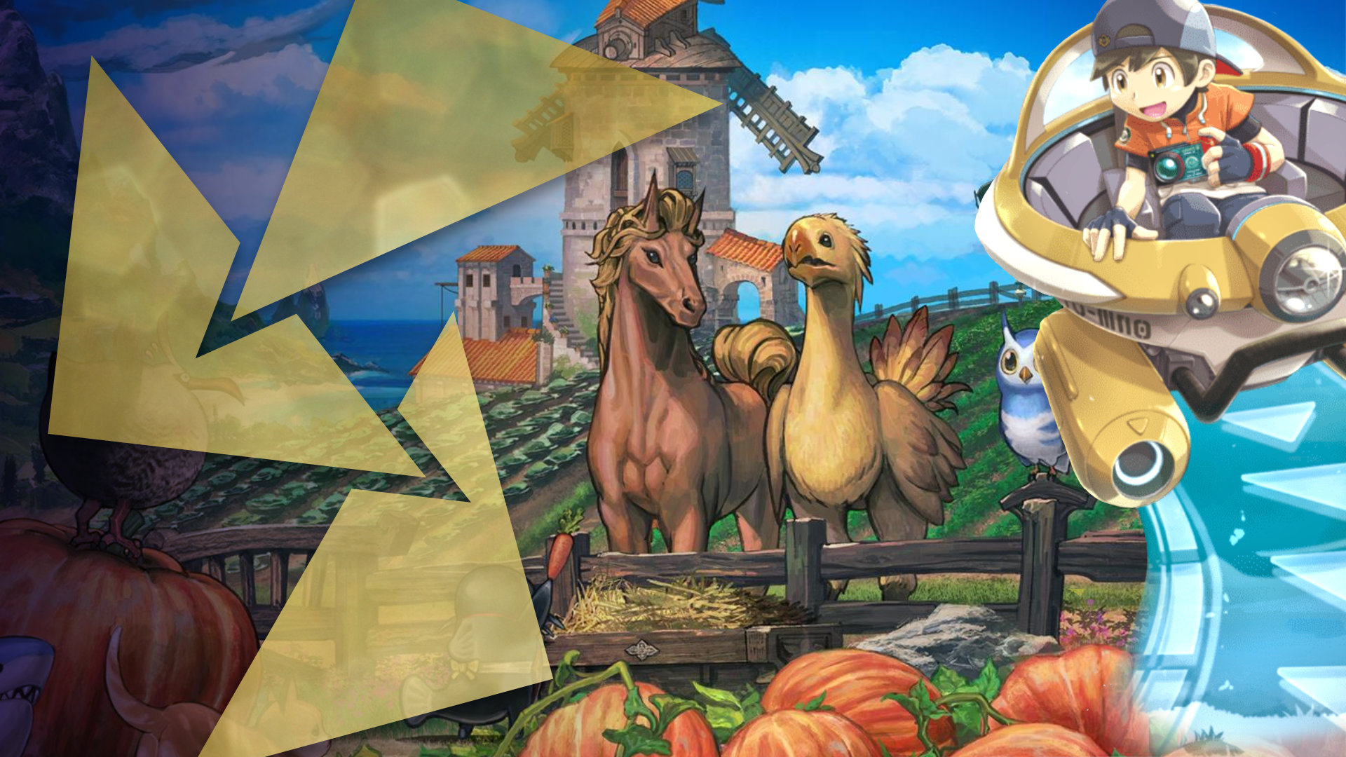 Displays a horse and a chocobo from Final Fantasy in a corral, there is a windmill in the background, pumpkins in the foreground, and the main male character from New Pokemon Snap rides by in his NEO-ONE hoverpod vehicle.