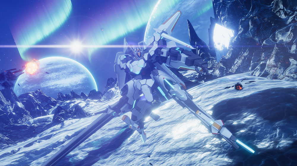 Relayer screenshot of a whining silver mecha readying for battle on a cool blue alien world with aurora borealis in the sky.