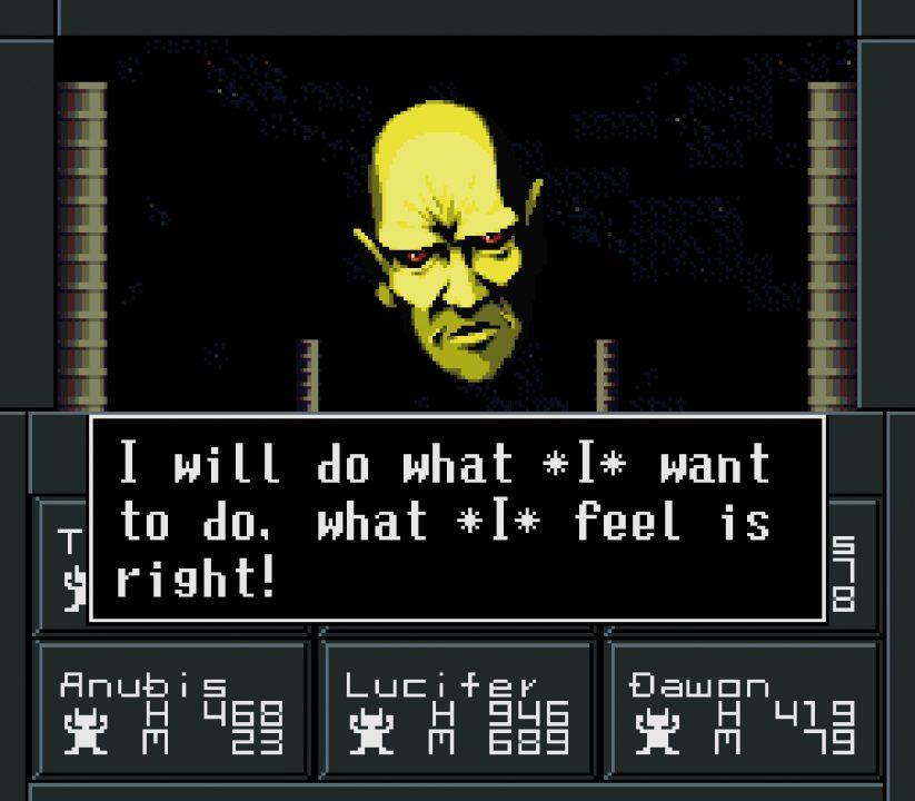 Shin Megami Tensei II Screenshot of YHVH Talking