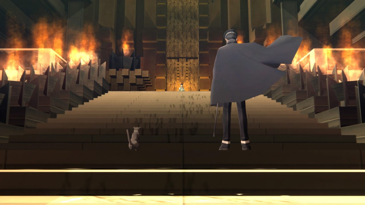 A cloaked man and a cat stand side by side at the foot of a stairway lined with torches. They look up at a boy standing atop the steps.
