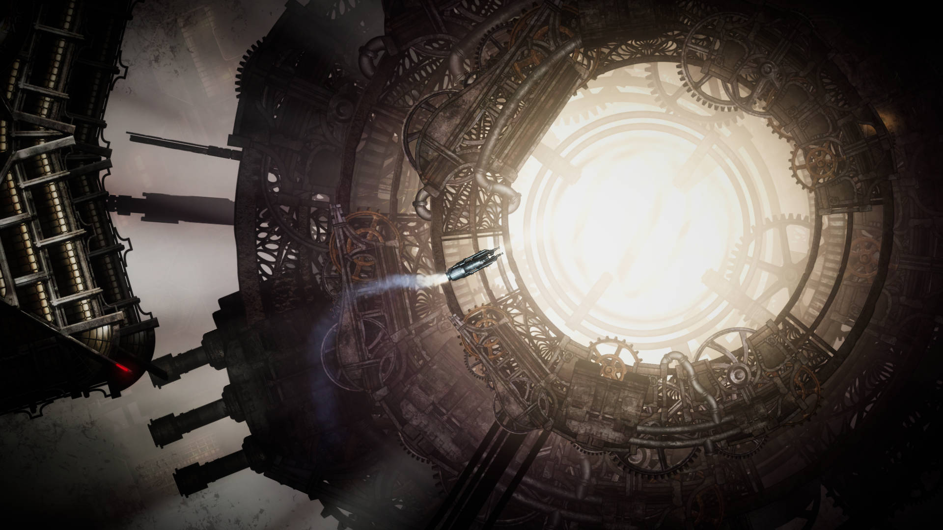 Sunless Skies screenshot of a train flying through space near a steampunk-style portal of light.