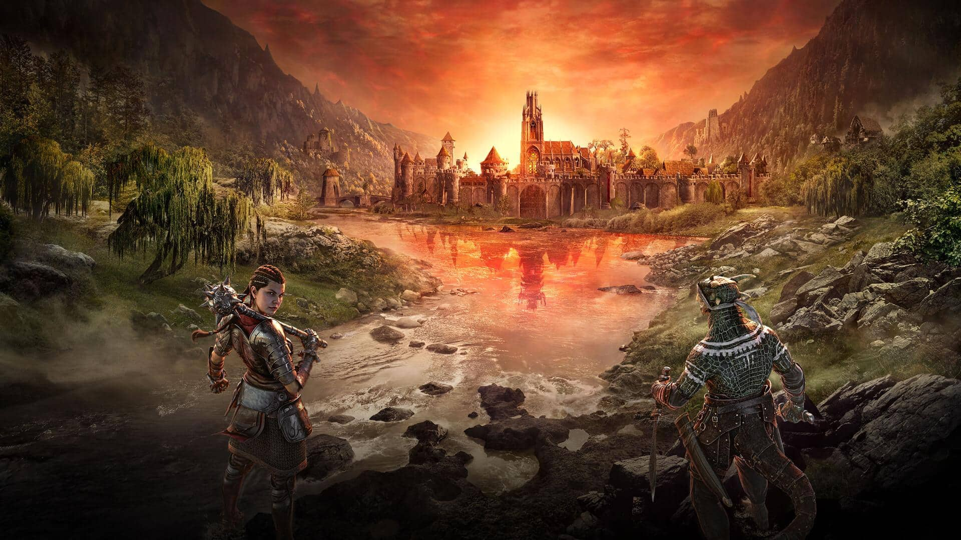 The Elder Scrolls Online: Blackwood Artwork of a human and lizard warrior standing outside a regal castle at sunset, with a twisted version of the castle visible in the river's reflection.