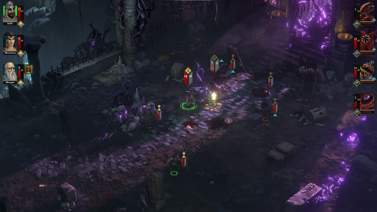 A top-down view of a dangerous dungeon in The Hand of Merlin.