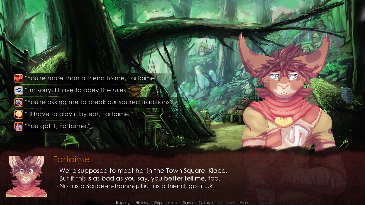 Fortaime reminds Glace that they're supposed to meet her in the Town Square, leading to five possible dialogue responses, in Winds of Change.