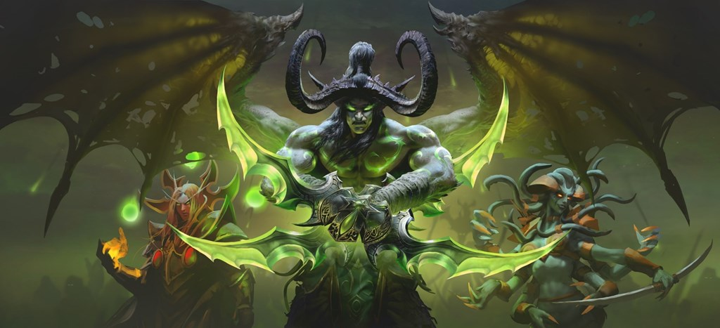 Evil beings wielding green fire in World of Warcraft: Burning Crusade Classic.